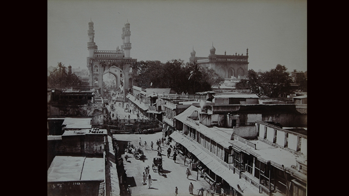 Principal Street leading up to Charminar in Hyderabad