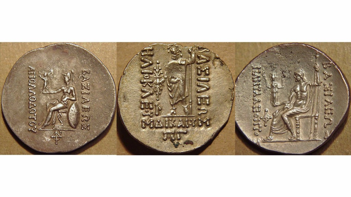 Greek deities on the reverse of the coins - Athena and Zeus are the most common