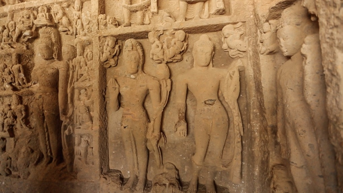 Sculptures and carvings inside the Kanheri caves