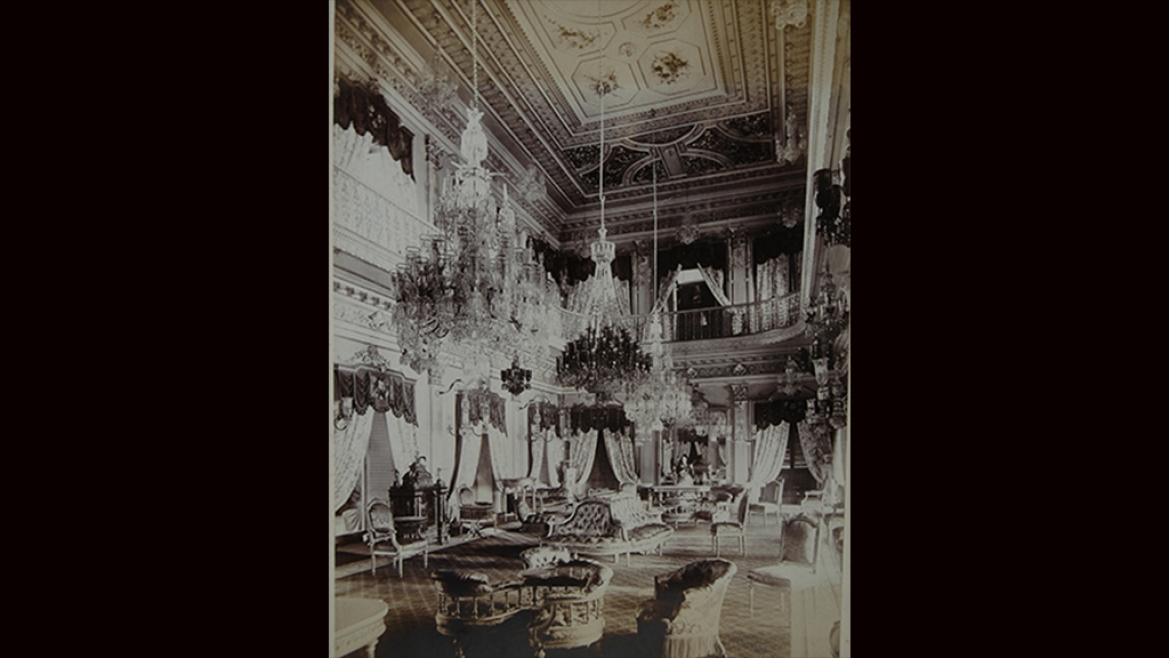 Interior of the Afzal Mahal Palace, Hyderabad