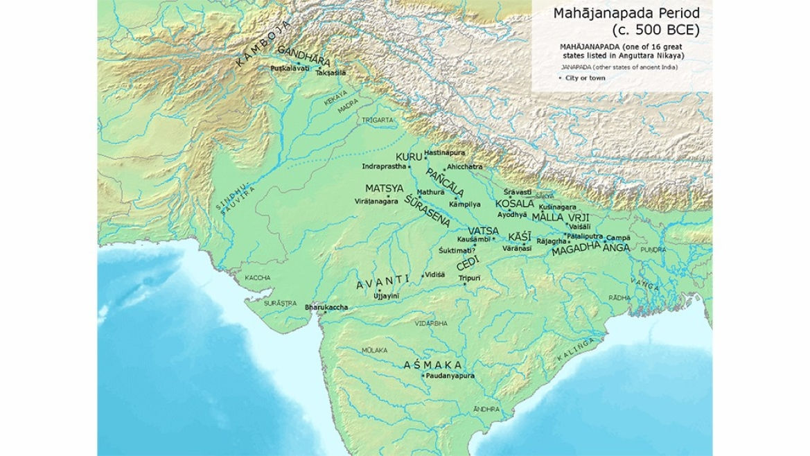 Map of the <i>Mahajanapadas </i>circa 500 BCE