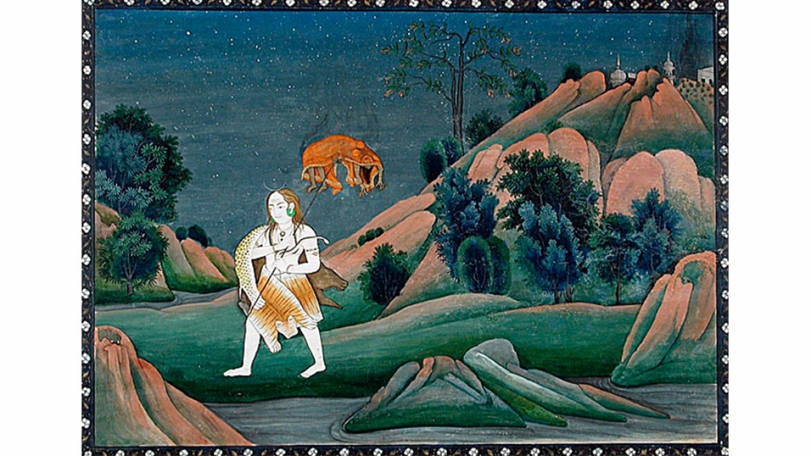 Painting of Shiva carrying Sati's corpse