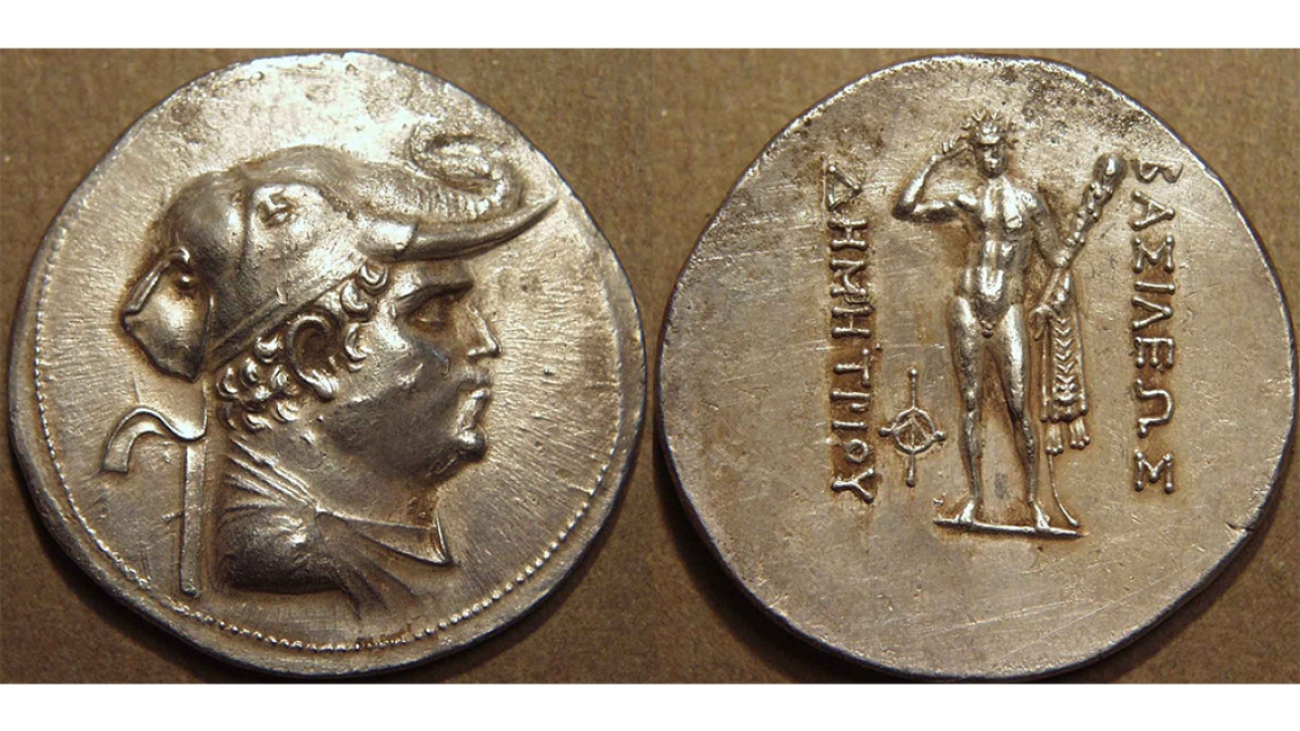 Demetrios on the front face of the coin with an elephant headdress and on the reverse is Greek deity Herakles