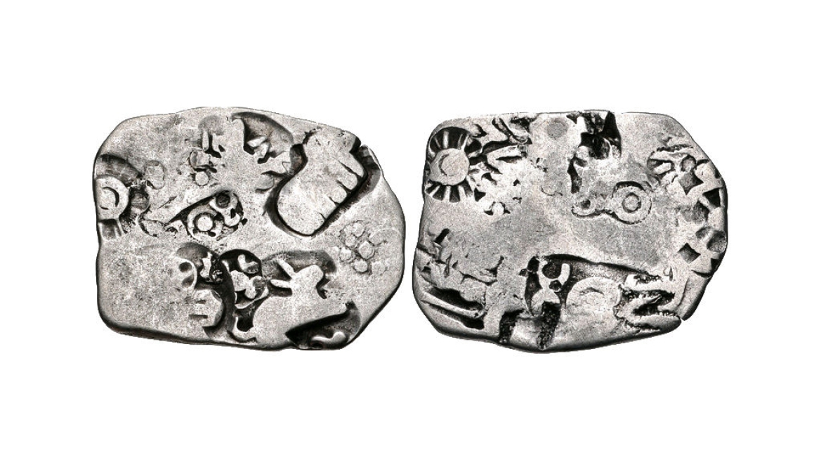 Coins of Magadha <i>Janapada </i>with rabbit, elephant (L) and  wheel (R)