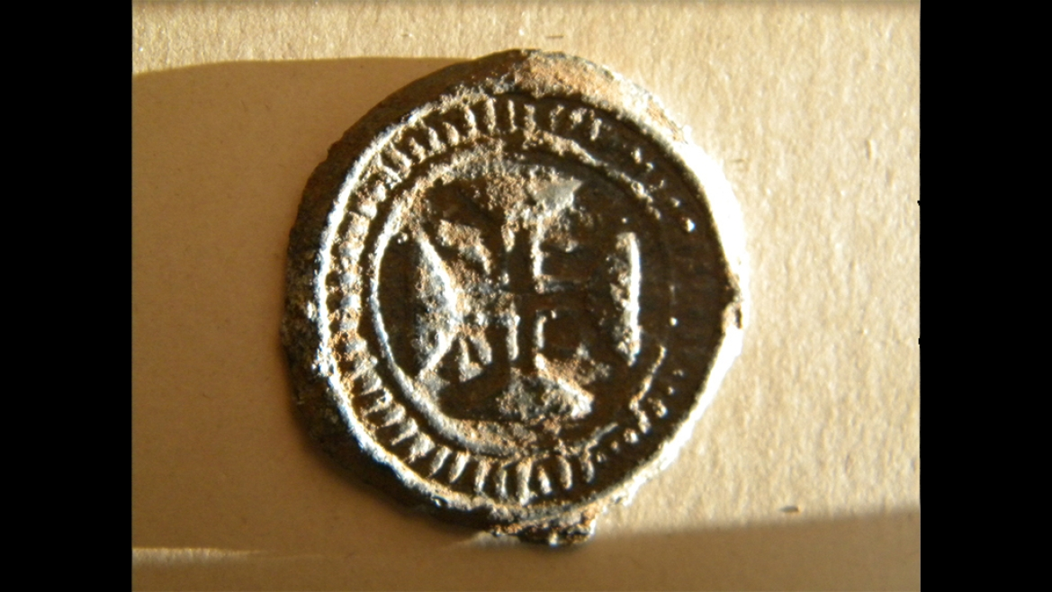 Bazarucos lead coin minted in Vasai Fort by Portuguese in 1734 with a cross