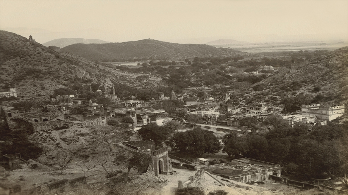 View of Jaipur from the Fort of Amber circa 1885