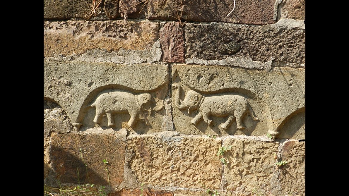 The Maratha's placed these engravings of dancing elephants as victory symbols all  in the Fort