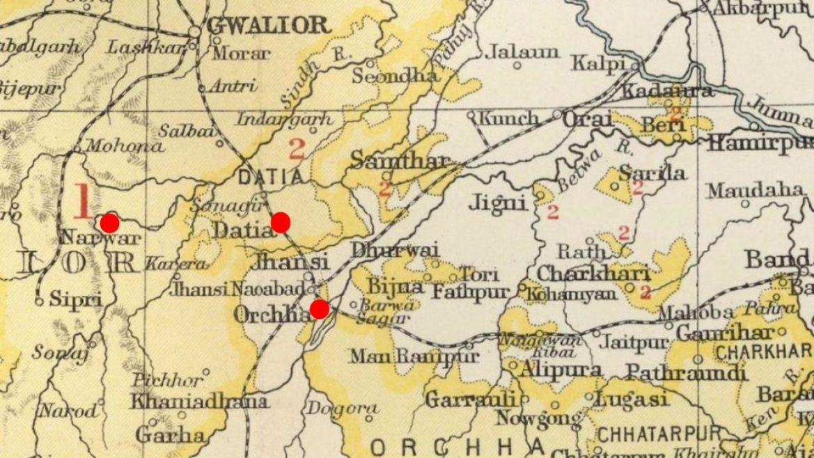 Map showing Orchha, Datia and Narwar (where Abul Fazl was murdered)