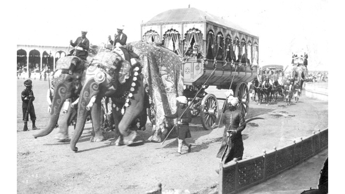 Elephant-driven elaborate carriages used to carry Rajas in the Delhi Durbar of 1903