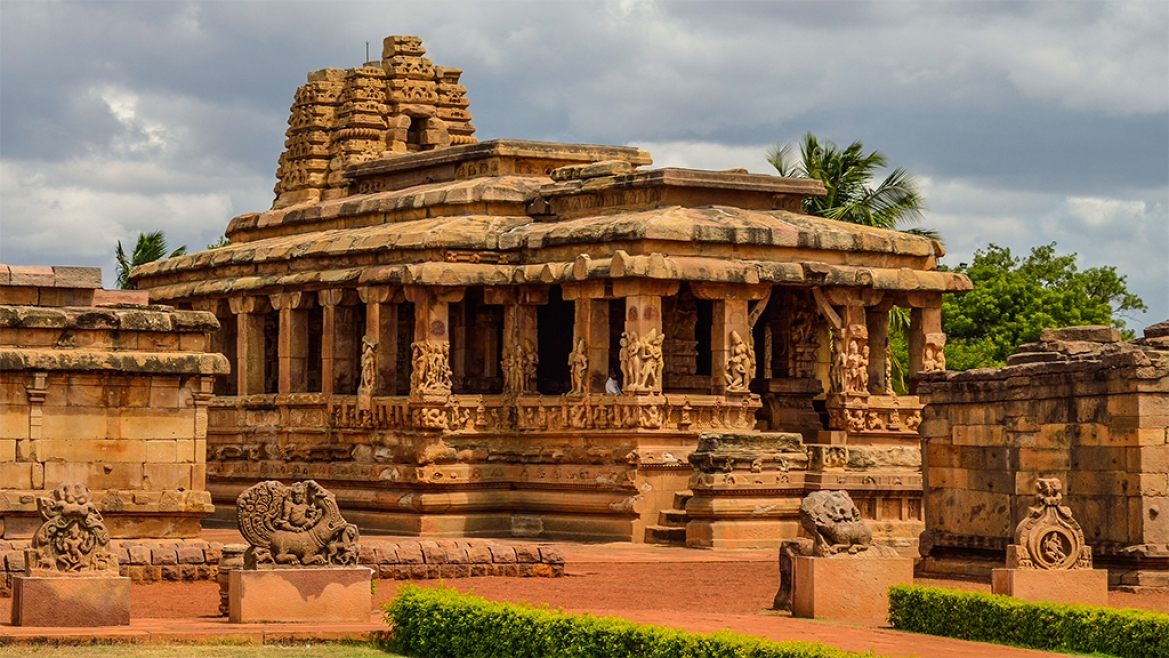 9th century CE Durga temple at Aihole depicting scenes from Devi Mahatmaya
