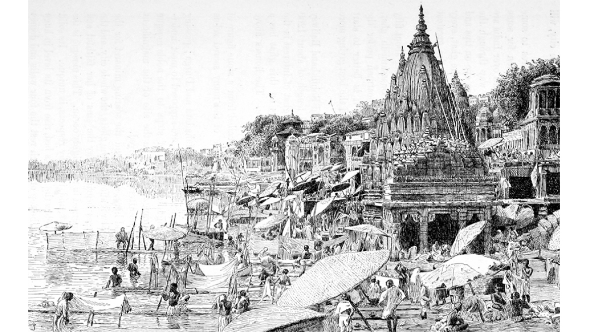 An 1890 CE sketch of the Ghats of Varanasi