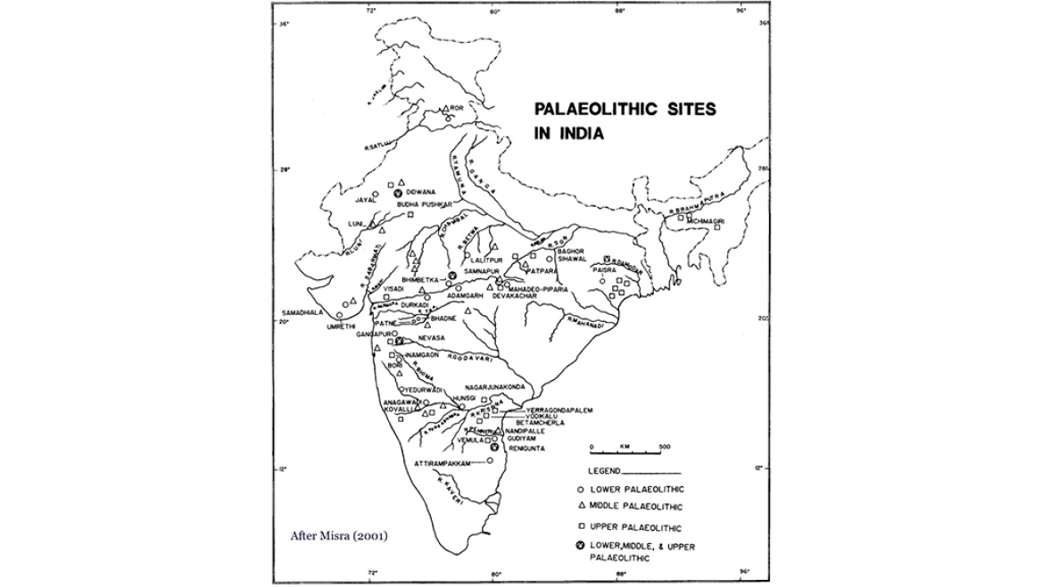 Map showing pre-historic sites in India