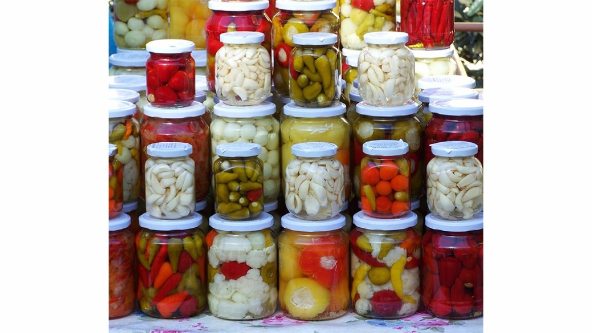 A variety of pickled fruits and vegetables