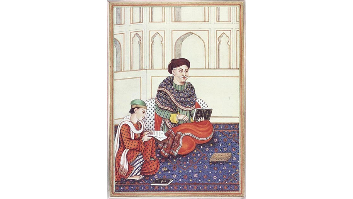 Portrait of Khatri Nobel wearing Ajrakh fabric in the 18th century