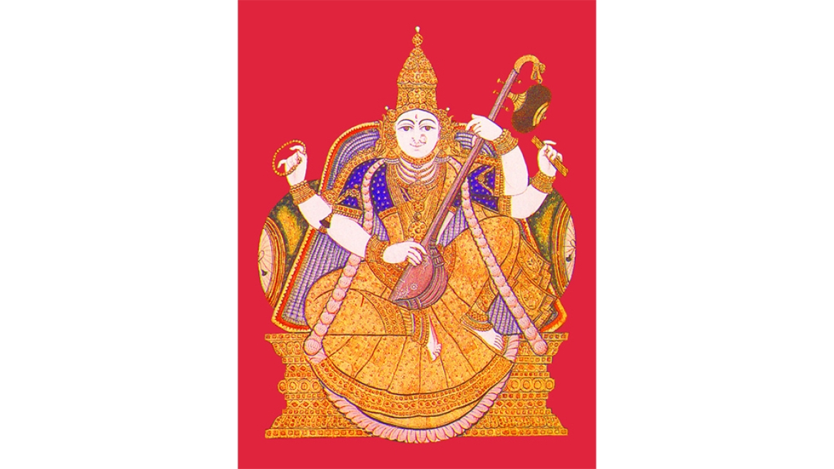 18th century Tanjore- style painting of Sarasvati, the Godless of learning, displayed in the library