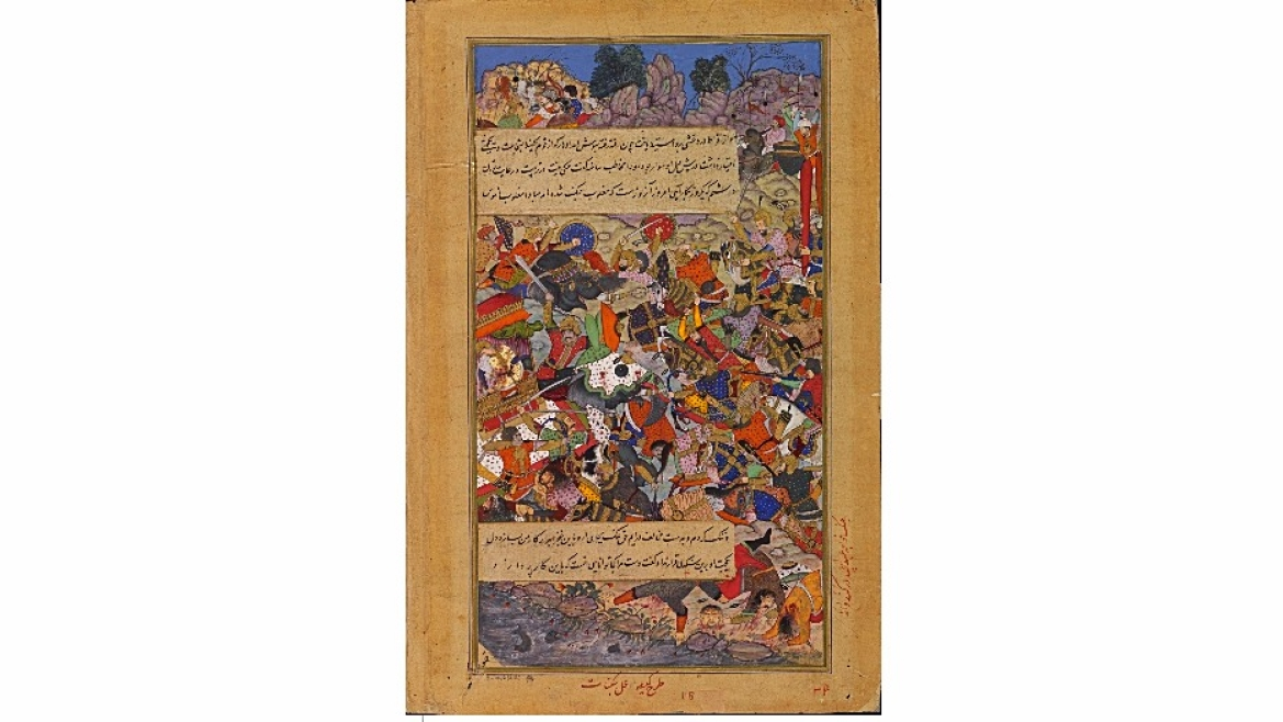 Painting by the Mughal court artists Kesav and Jagannath from the <i>Akbarnama</i> (Book of Akbar) depicts the heroic death in battle of Rani Durgavati c. 1590-95 CE