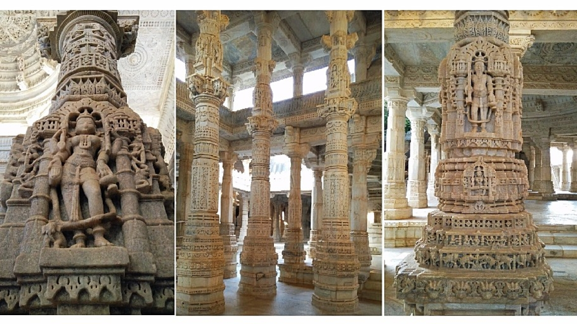 Ornate pillars at Ranakpur temple
