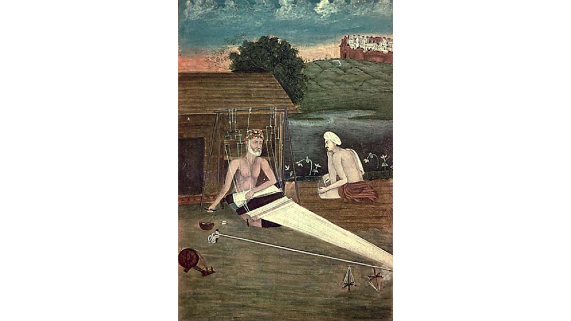 An 1825 CE painting that depicts Kabir weaving