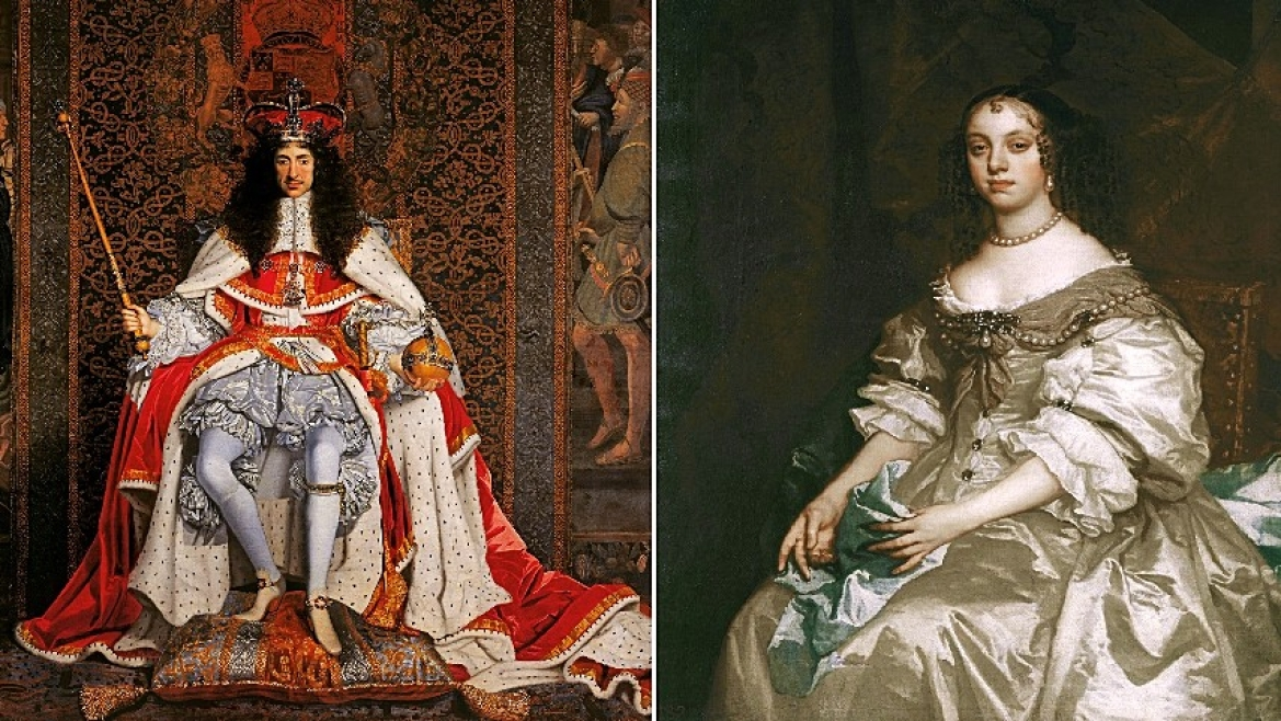King Charles II (L) and Queen Catherine (R)