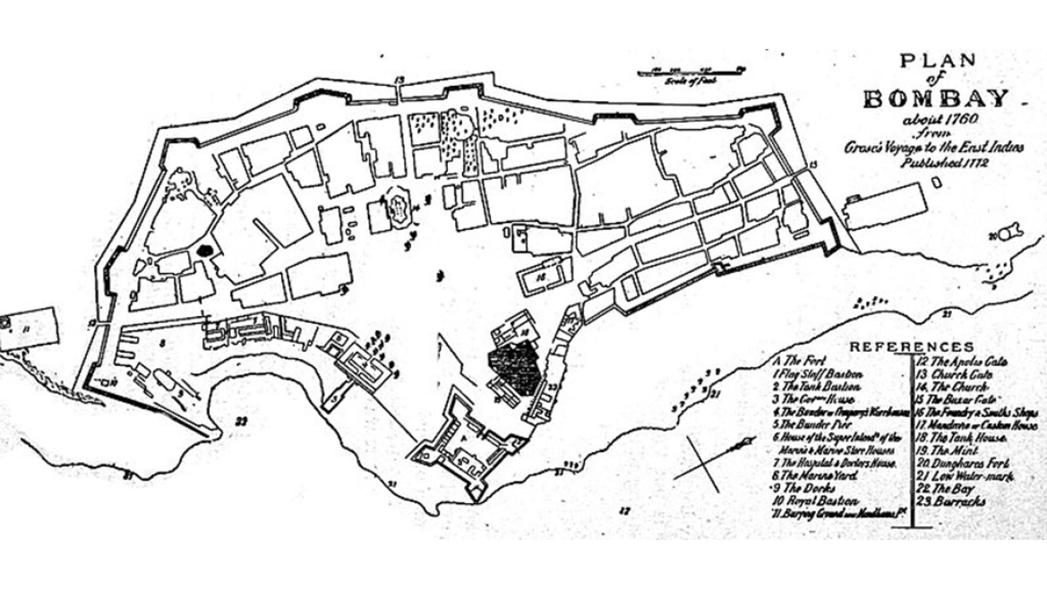 Map showing Bombay Fort in the 18th century