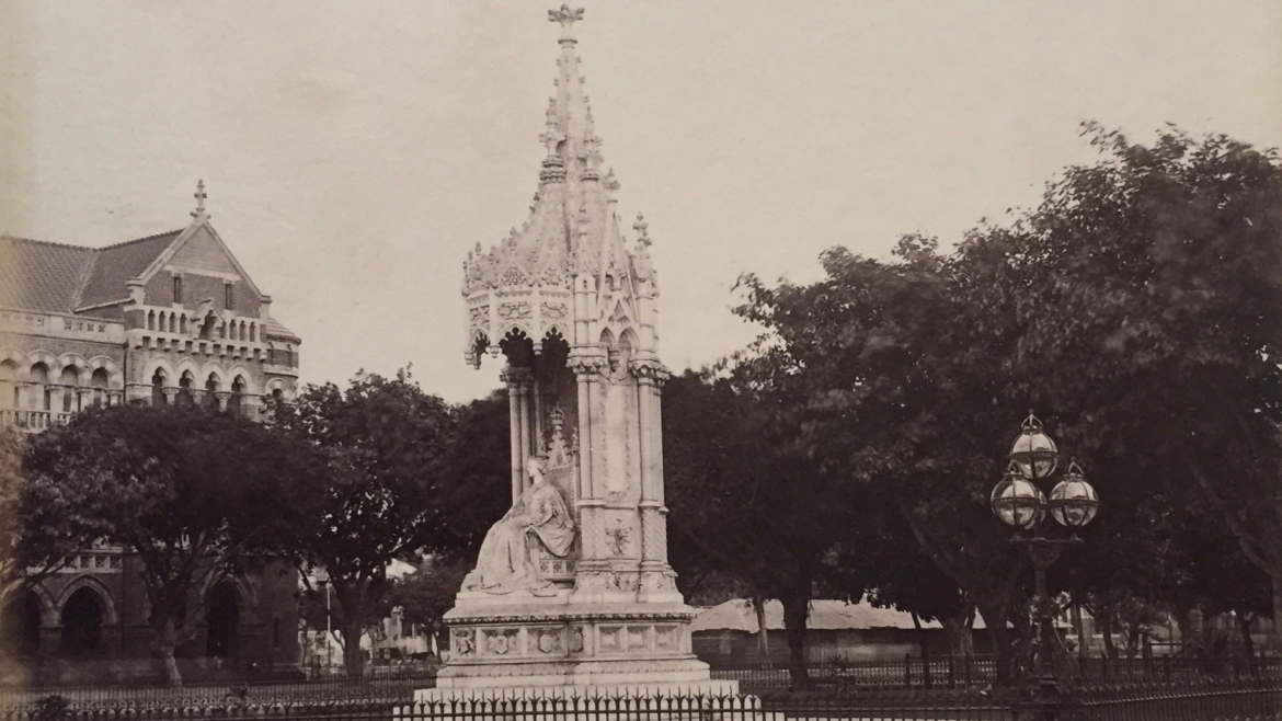 Queen Victoria in a marble canopy