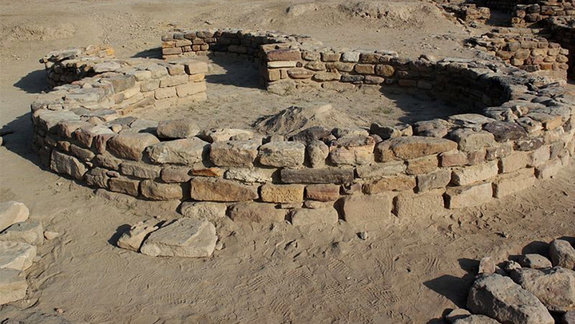 Remains of circular house from post-Harappan period