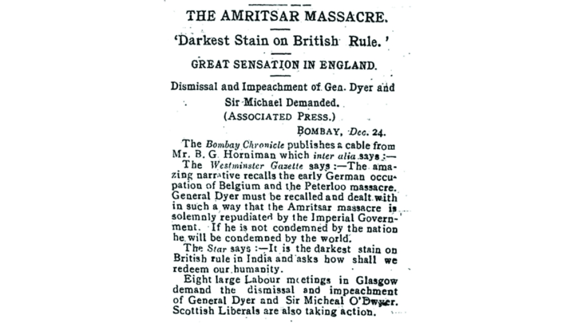 A reproduced version of a report by Benjamin Horniman on the Jallianwala Bagh Massacre