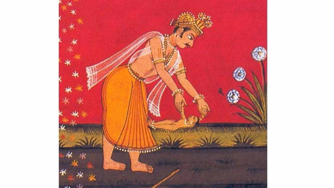 King Janak finds Sita while ploughing the field