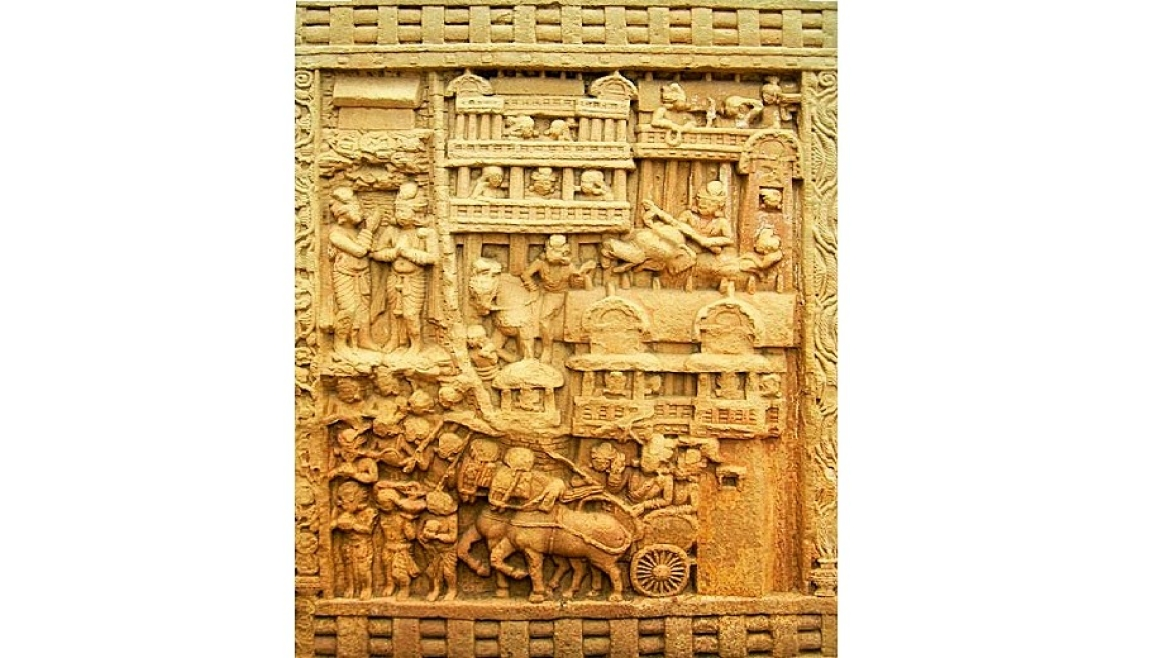 Depiction of King Bimbisara with his royal cortege in the city of Rajgir going to Sanchi