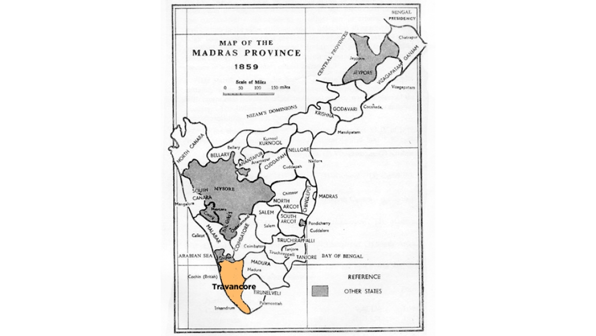 Map showing Travancore in 1859
