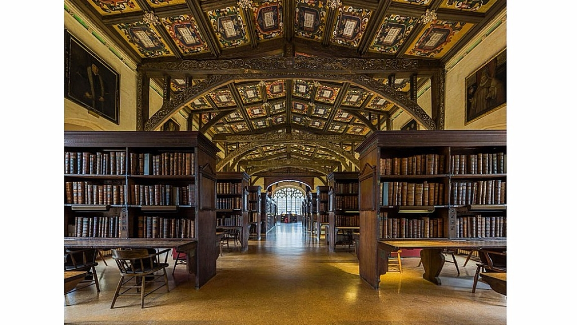 The interiors of a reading room of the Bodleian Library, University of Oxford