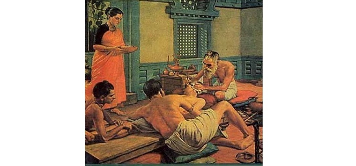 An illustration of Sushruta performing surgery