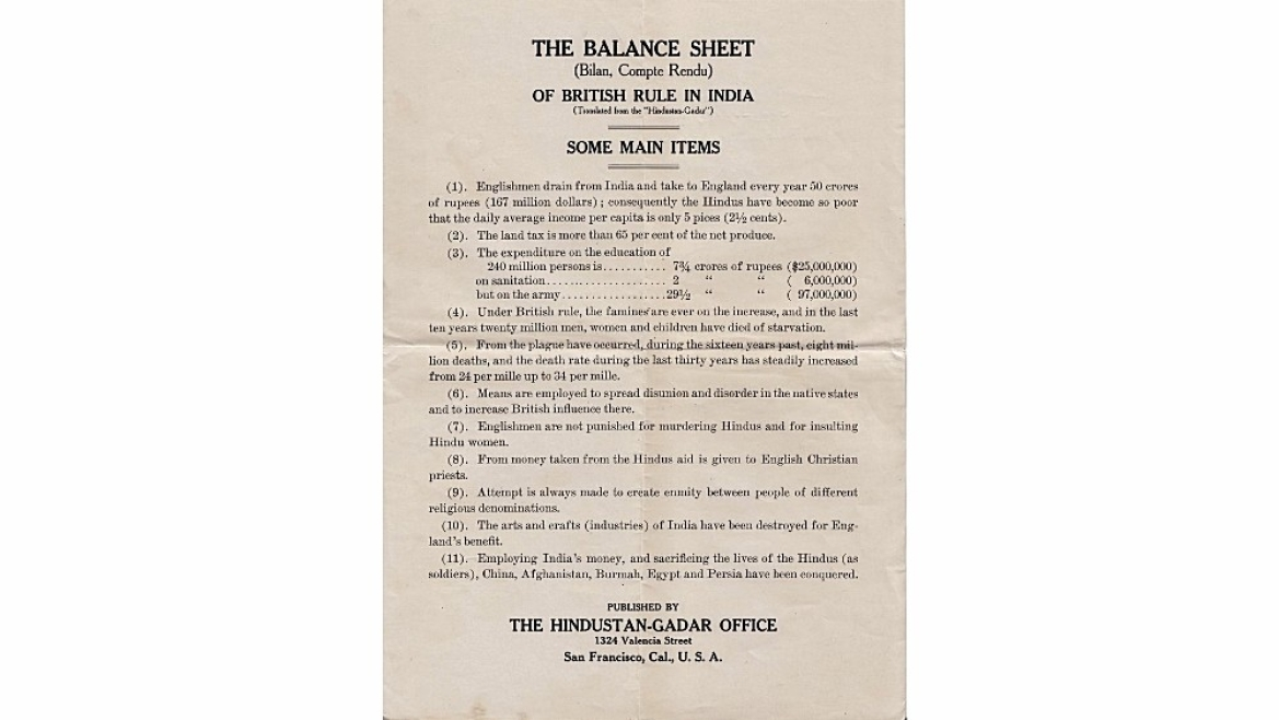 Pamphlet 'Balance sheet of British India' distributed by Ghadar party