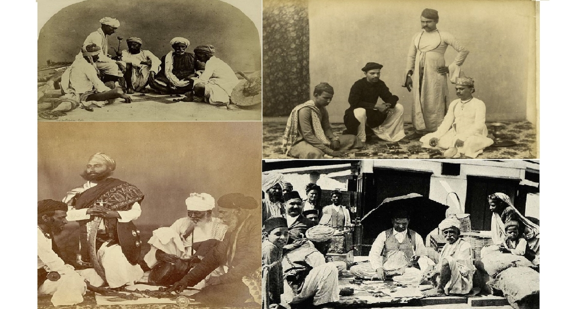 Photographs from 19th and 20th century of men playing Pachisi