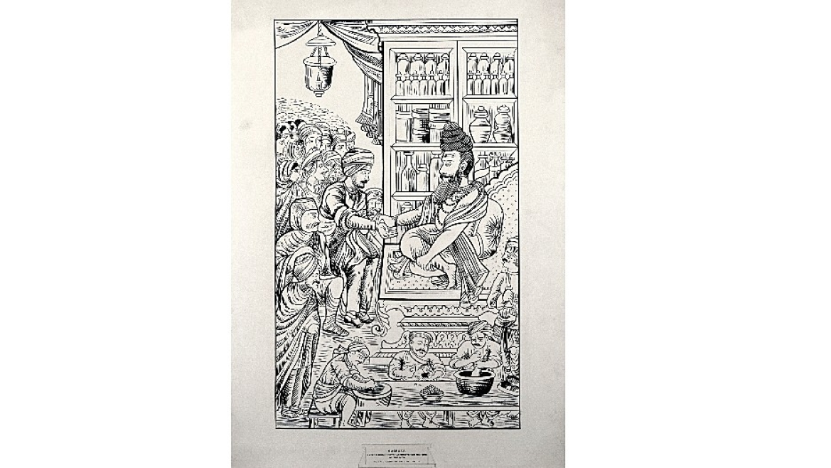 Pen drawing of Sushruta treating his patients