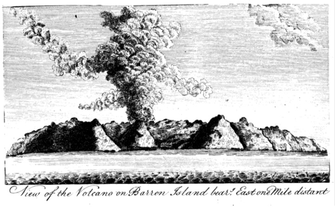 Sketch of Barren Island by  Lieutenant RH Colebrooke