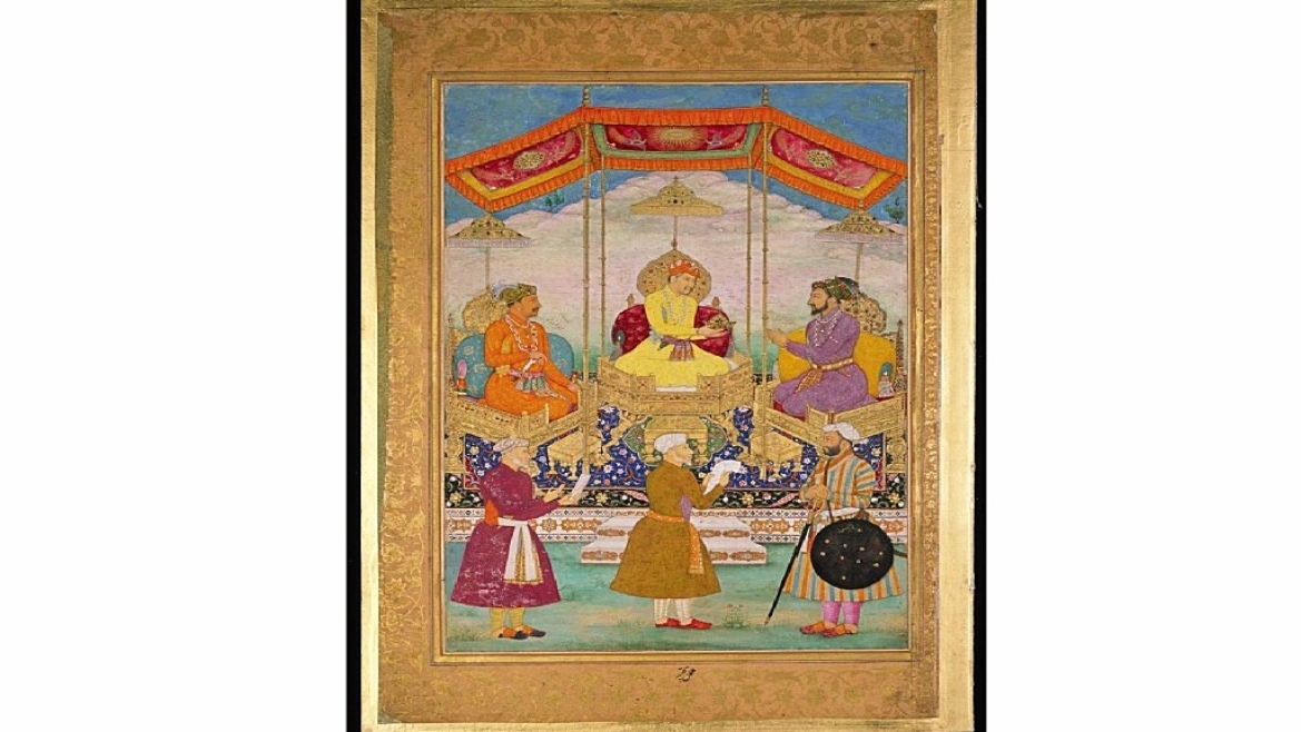 Portrait of Akbar, Jahangir and Shah Jahan along with their ministers
