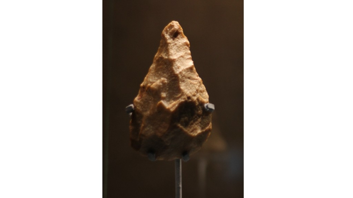 This stone handaxe found  at Attirampakkam is  the oldest human artefact found in the Indian subcontinent. Now on display at the 'India & the World' Exhibition at CSMVS Museum, Mumbai
