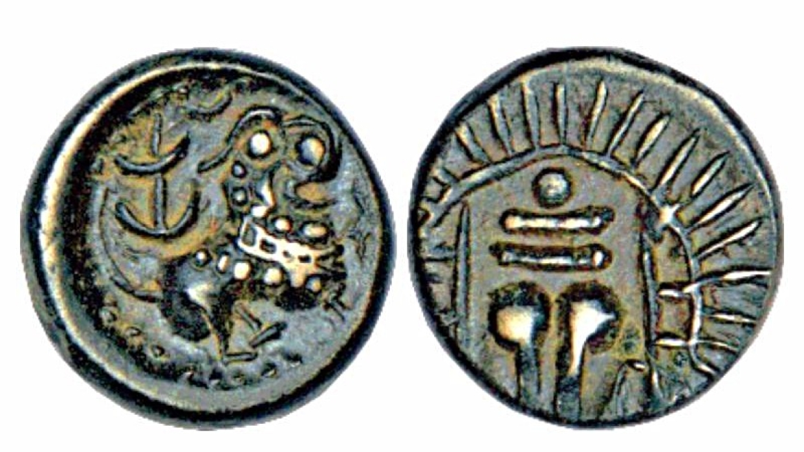VIshnukundin coin portraying  lion with open mouth
