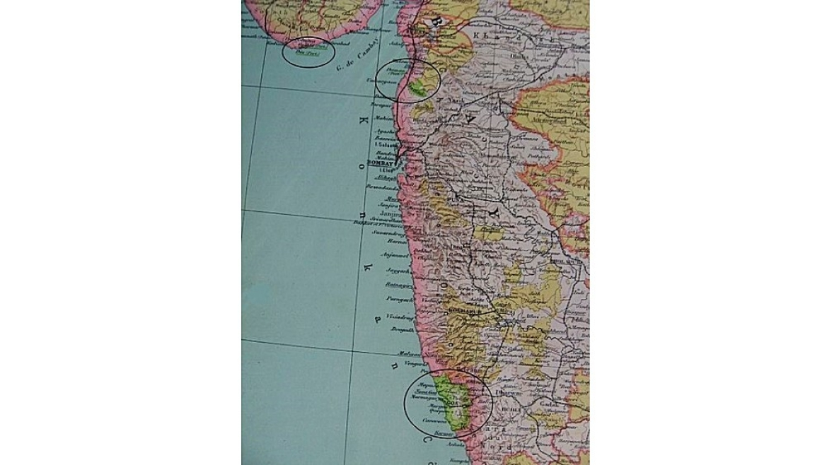 Map showing Portuguese India in 1923 CE