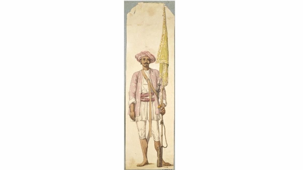 A soldier of the Mysore army holding a rocket as a flagpost