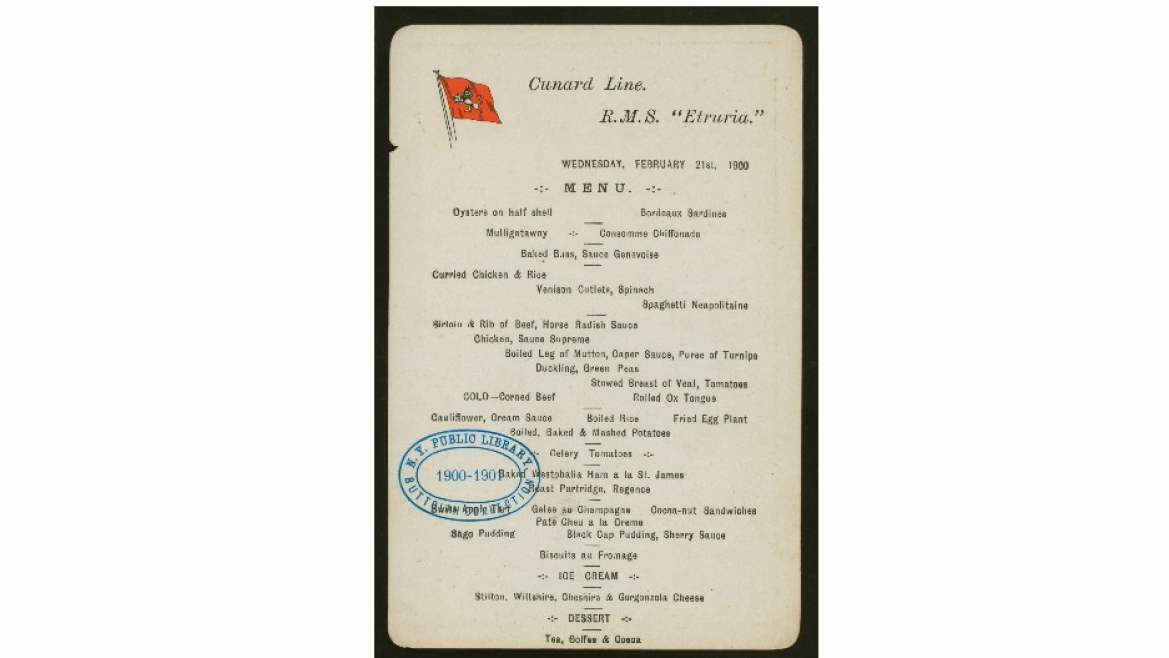 Mulligatawny soup on the menu for dinner held by Cunard Line at SS Etruria in 1900