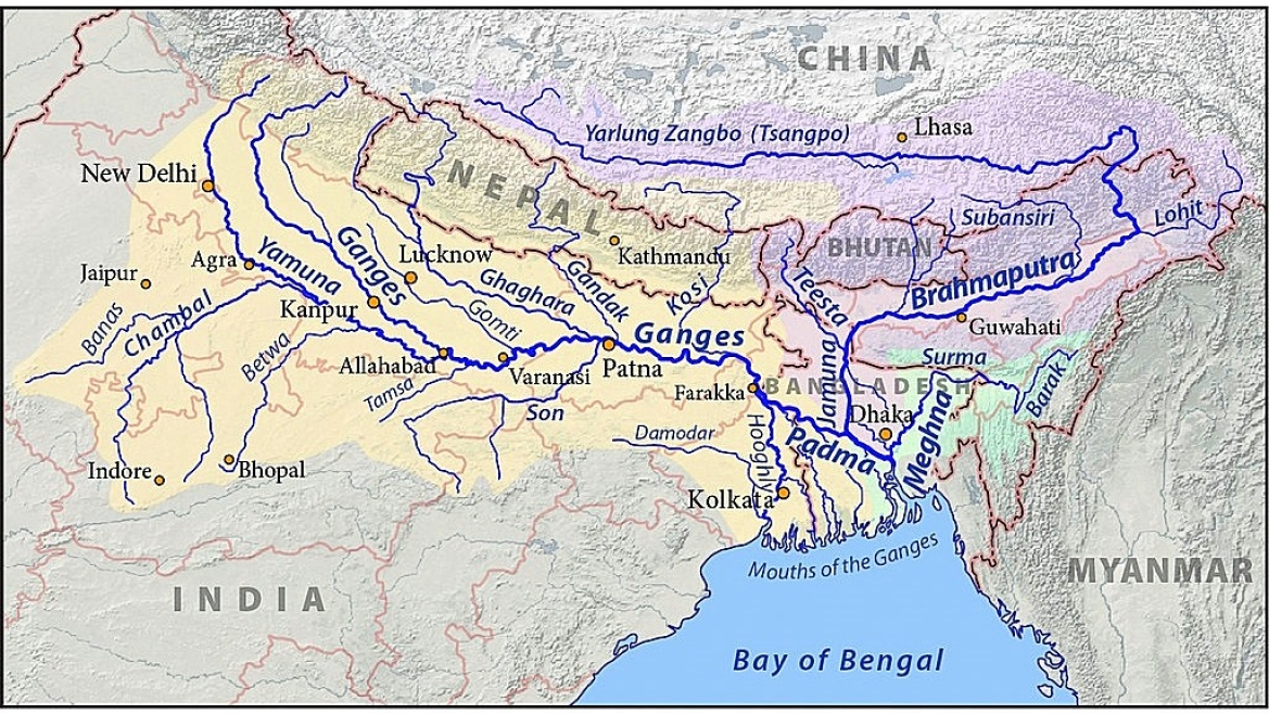 Map showing Ganga and Brahmaputra rivers and important towns