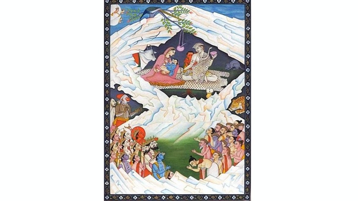 Painting of Lord Shiva and his family residing at Mount Kailash