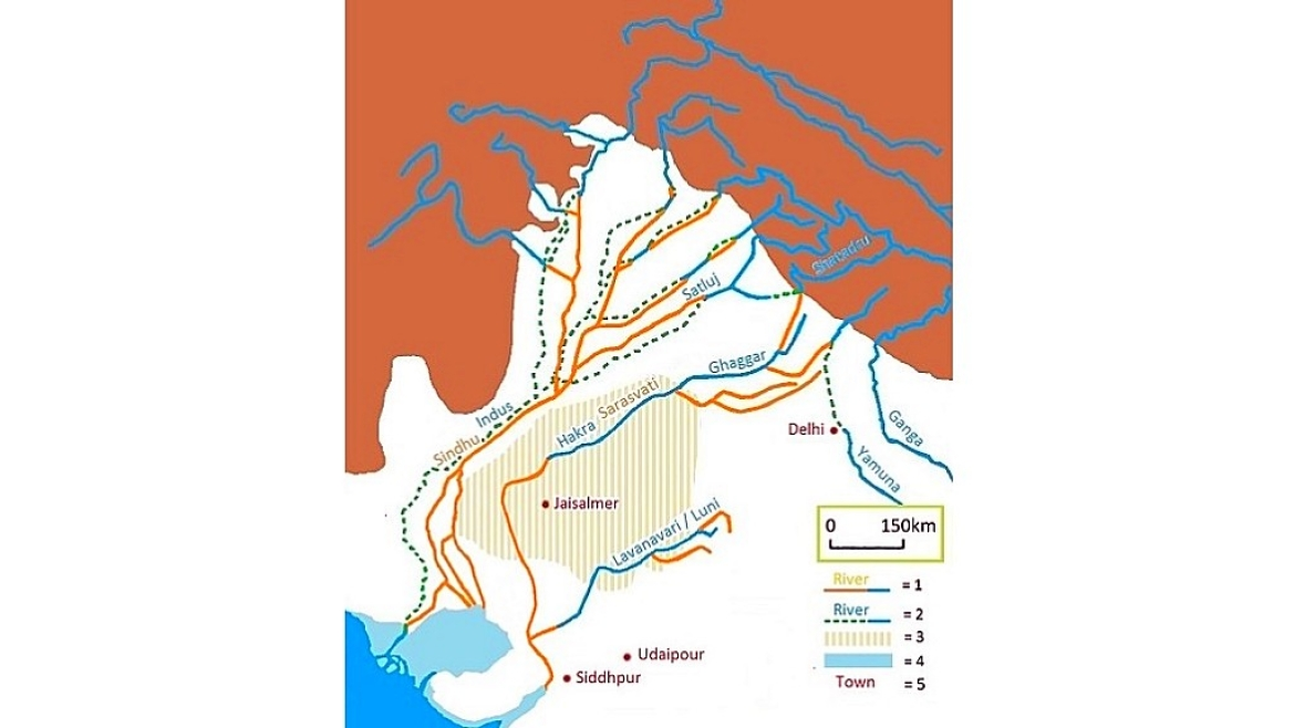 Representation of Saraswati River along with present-day rivers