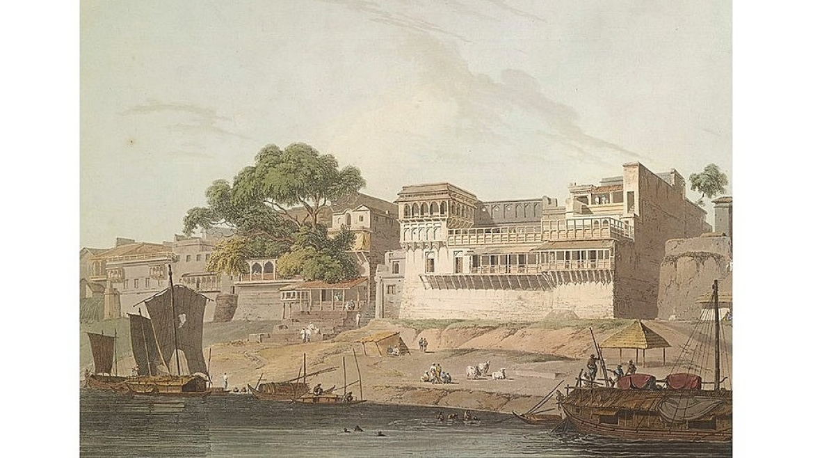 19th century painting of city of Patna on the river Ganga