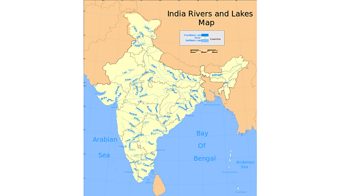 Map showing rivers in India