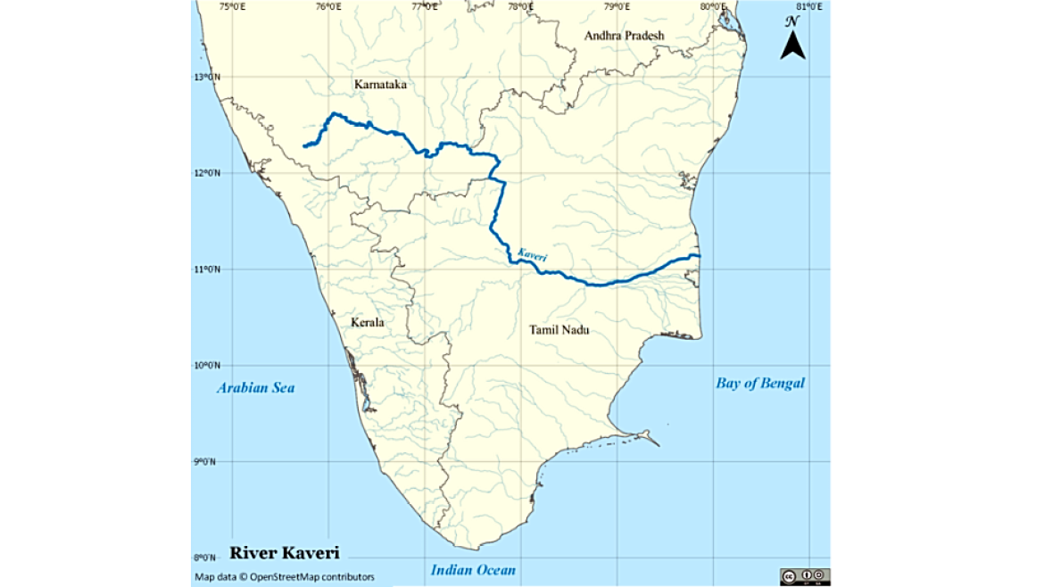 Map showing Kaveri River