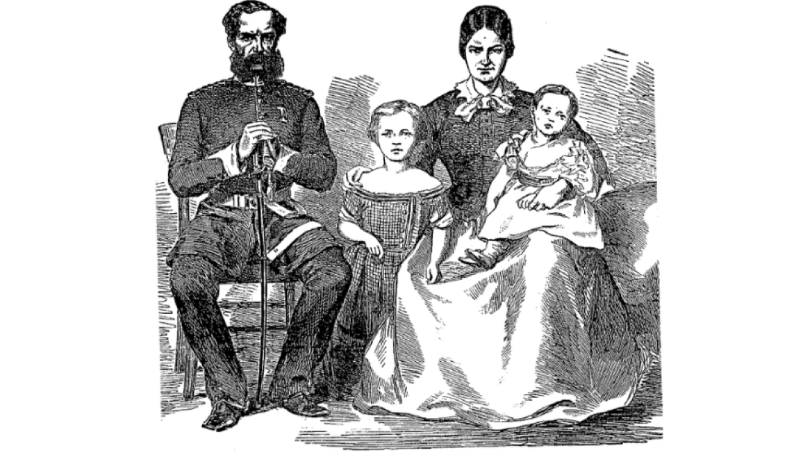Illustration of Colonel John Inglis, Julia Inglis and  their  children