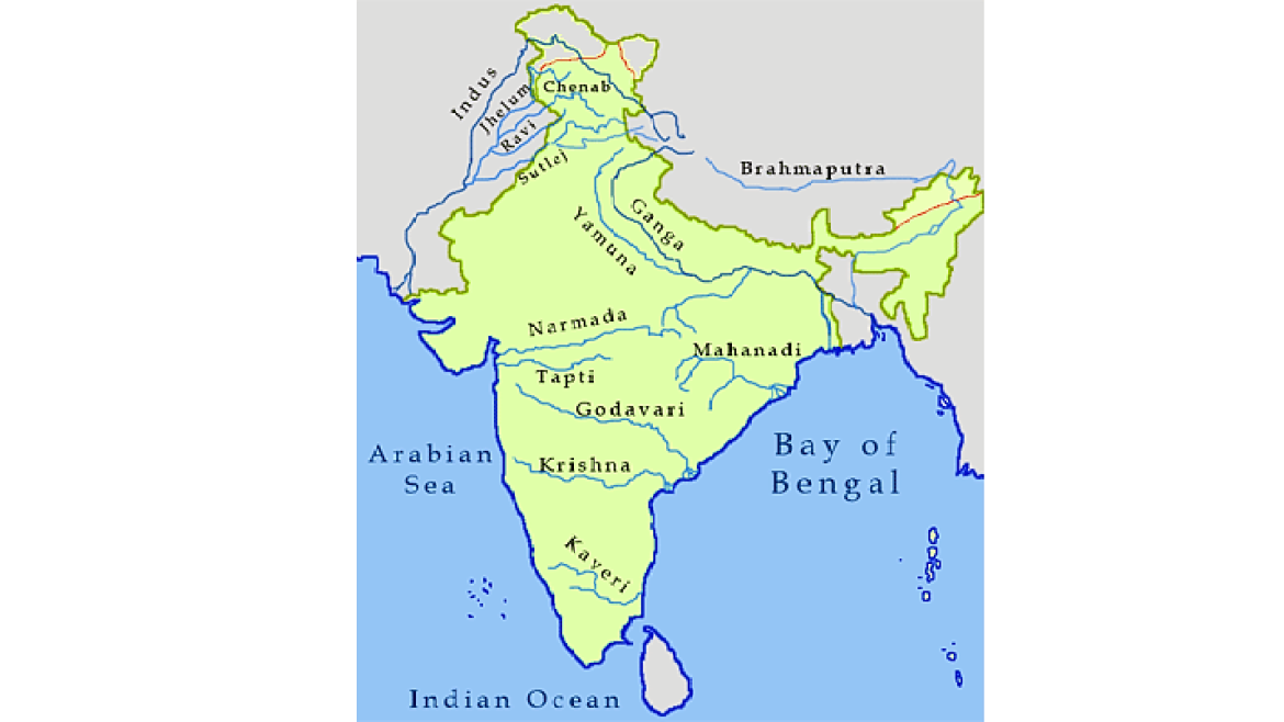 Map showing  rivers of India